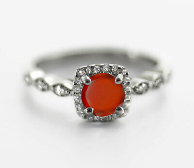 925 Sterling Silver Ring Hessonite Garnet Natural Size 4-11