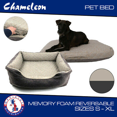 Premium Dog Bed & Travel Bed Memory Foam 2-in-1 Reversible Quilted - 4 Sizes