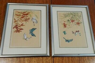 Pair of Vintage Chinese Painting On Silk Butterflies Red / Orange Flowers Signed