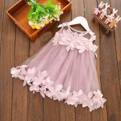 Wedding Princess Party Dress Infant Baby Girls Lace Floral Sleeveless Cute Dress