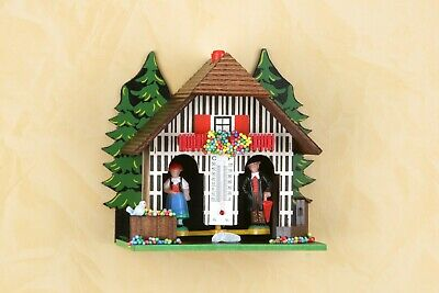 Small Wooden German Black Forest weather house Barometer weather station