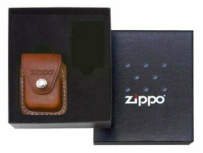 Zippo Clip-On Brown Leather Pouch, Gift Set