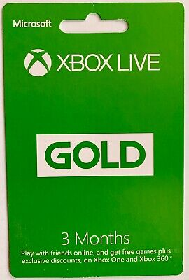 3 Month Xbox Live Gold Membership Microsoft Xbox 360 / Xbox One Emailed Asap