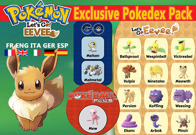 Exclusive Pokedex Pack Let's Go Eevee shiny/alola Custom/ lvl/6IV/AVs