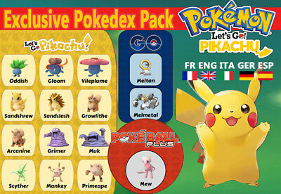Exclusive Pokedex Pack Let's Go Pikachu shiny/alola Custom/ lvl/6IV/AVs
