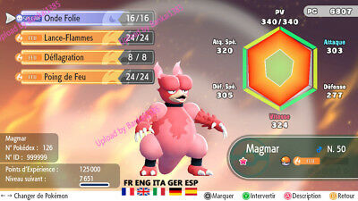 Pokemon Let's Go Magmar Shiny Custom/lvl/6IV/AVs
