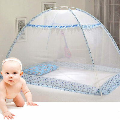Blue Pink Cartoon Baby Bed Canopy Portable Folding Crib Netting Tent without Bot