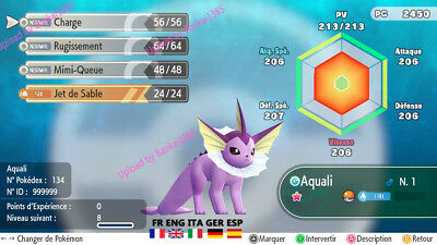 Pokemon Let's Go Vaporeon Shiny Custom/lvl/6IV/AVs