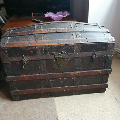 Sea Chest / Travel Trunk (Victorian?)~ Dome Top Leather/Wood ~ Vintage /Antique
