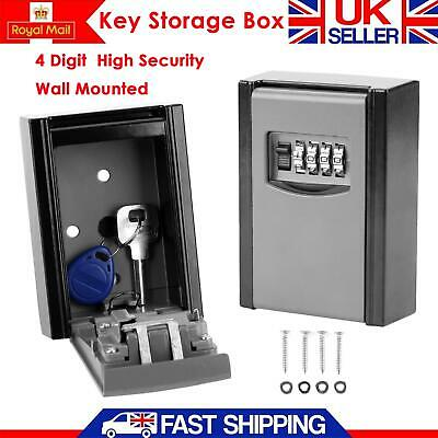 UK OUTDOOR SECURITY WALL MOUNTED KEY SAFE BOX CODE SECURE LOCK STORAGE 4 Digit