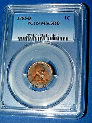 1961-D 1C RB Lincoln Memorial Cent-PCGS MS63RB--207-1