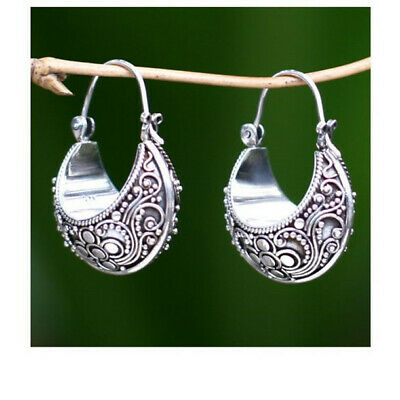 Antique Fashion Woman 925 Silver Pendant Hoop Birthday Jewelry Gift Earrings