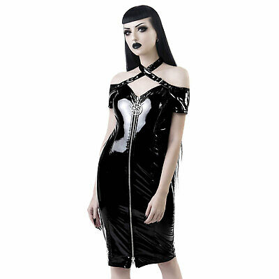 KILLSTAR Lost Souls Bardot Lack-Kleid Front-Zip Hauteng Pentagramm Vinyl Dress
