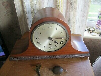 vintage art deco english light oak  chiming mantle  clock/key/pendlum