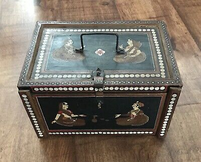 Decorative Antique Vintage Hand Painted Indian Dowry Box ideal Jewellery