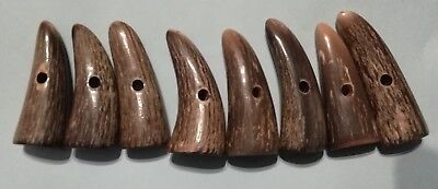 4 X 55-67mm Genuine 1-Hole Horn Toggle Buttons (Duffle/Trench, Veined, New)