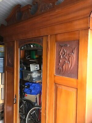 Antique Art Nouveau Satinwood Wardrobe