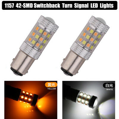 2x 1157 Switchback LED Bulbs BAY15D 7528 2057 Dual Color Turn Signal Lights Bulb