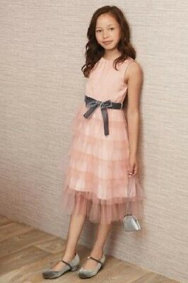 BNWT NEXT Girls Pink Tiered Party Prom Dress With Grey Belt 6-7-8-9 Year RRP £32