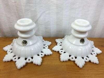 Pair Vintage Westmoreland Milk Glass Ring And Petal Pattern Candle Holders (S)