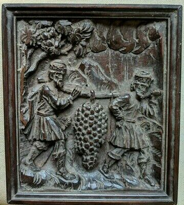 Very Old Antique Wood Carving In Later Frame Grapes of Canaan Religious Panel