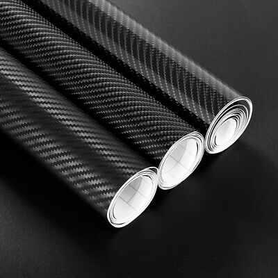 3D 4D 7 BLACK Carbon Fiber Vinyl Film Wrap DIY Waterproof Auto Motorcycle Car