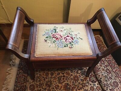 Embroided Floral Antique Piano Stool With Storage