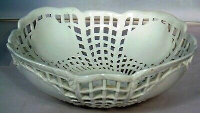 19thC KPM German Berlin Blanc de Chine Porcelain Reticulated Square Bowl White
