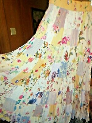 ac0d23a36 Sacred Threads Long Floral Hippie Boho Rayon Patchwork Skirt Ladies One Size