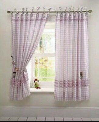 Mamas And Papas Made With Love Girls Curtains With Wooden Matching Tie Backs