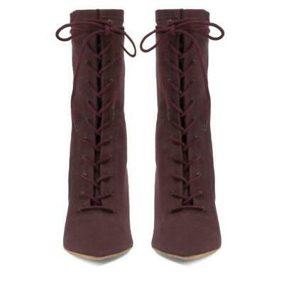 458c4dca4d9 Yeezy Season 5 Canvas Lace Up Ankle Boot 90MM Burgundy Size 35FR 4US retail  750