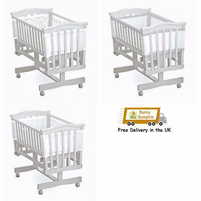 Breathable Baby Mesh Crib Liner / Bumper White/white Silver Trim/Twinkle Twinkle