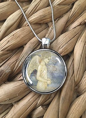 Christian Guardian Angel Loss Memorial Glass Pendant Silver Chain Necklace NEW