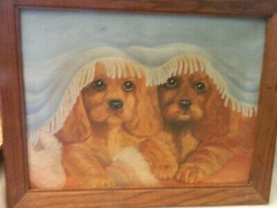 Vintage 1960'S Original Oil Painting Two Mischievous Cocker Spaniels W/Slippers