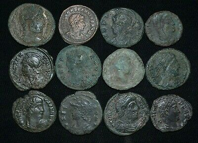 Group of 12 Ancient Roman Bronze coins, c 250-350 AD. Detector Finds. Cleaned