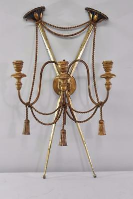 Antique 3 Arm Wrought Iron Candleholder Wall Sconce W/ Rope Detail