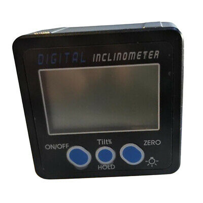 Digital Protractor Angle Finder Level Inclinometer Magnetic Base Blue Button