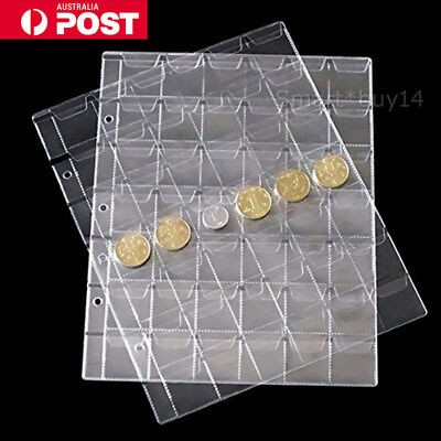 10 x 42 Pockets Coin Holders Folder Pages Sheets For Collection Album Storage AU