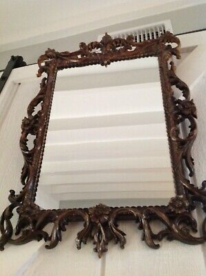 VTG Wall Mirror  Gold Ornate Hollywood Regency Mid Century Burwood 31 x 19