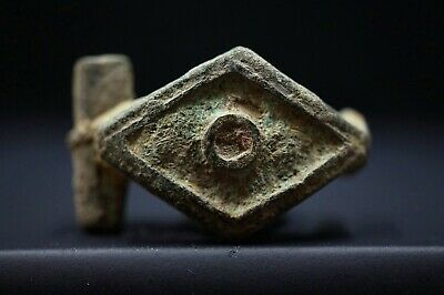 Ancient Roman Bronze Fibula. Stunning rare Brooch with Glass Paste, 250-300 Ad.