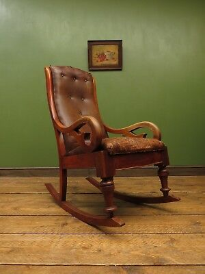 Victorian Rocking Chair with Rexine Leather Seat