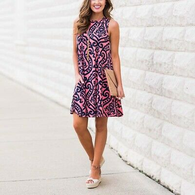 Mini Casual Dress Summer Ladies Womens Floral Sleeveless Party Printed Sundress