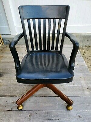 Antique B.L. Marble Chair Co Bedford Ohio USA Rolling Office Swivel Armchair