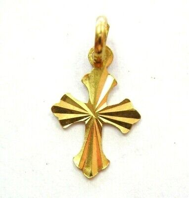 SMALL Beautiful Solid 22K Yellow Gold Nice Design Cross Pendant Charm Religious