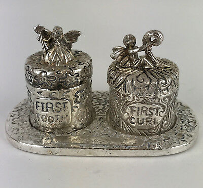 Baby First Curl & First Tooth Fairy Pewter Trinket Boxes On Tray, Removable Lids