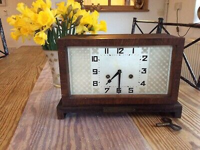 Large, Antique Working, Chiming, Rectangular,1930s Art Deco, Wooden Mantle Clock