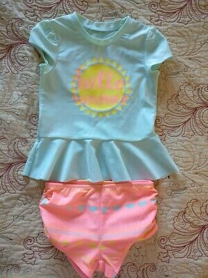 4bbf8c54421af Toddler girls 4T Cat & Jack rash guard short sleeve two piece swim suit  cute!