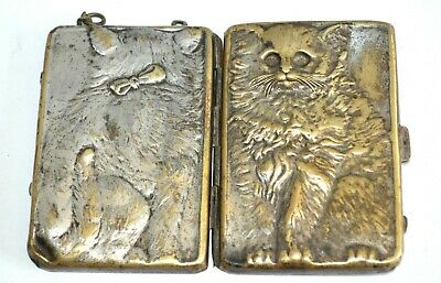 Antique Figural Cat Compact Case Minaudiere Silver Plated by Josef Schmid
