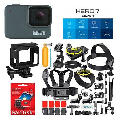 BRAND NEW GoPro HERO 7 hero7 SILVER HD With 40+ Action sports kits CHDHC-601