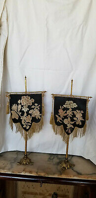 A Pair Of Antique Victorian Tabletop Embroidered  Fire Screen On T-Stand
